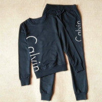 """Calvin Klein""Fashion sports suit sweatershirt Black"
