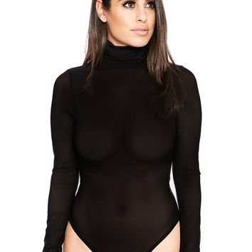 The Mesh Turtleneck Bodysuit - New Arrivals Nakedwardrobe