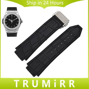 Genuine Leather + Silicone Rubber Watchband 26mm x 19mm for Hublot Watch Band Steel Butterfly Buckle Strap Wrist Bracelet Black