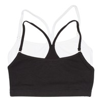 Girls 2-Pack Racerback Crop Bra  (Black/White)