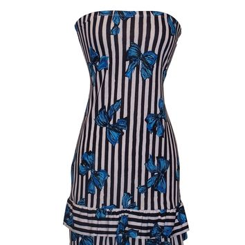 Strapless Jersey Striped Bow Print Ruffle Tube Mini Dress Sundress
