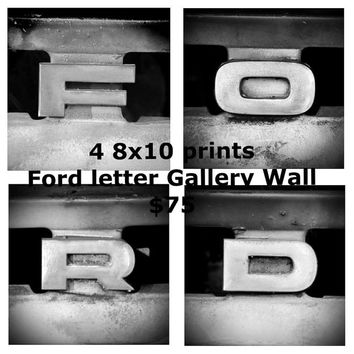 Ford Truck Photography 8x10 fine art black and white letters gallery set 8x10 photo wall art home decor man cave garage