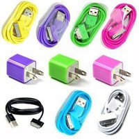 Amazon.com: Hot Pink, Purple, Green Wall Ac Charger plus 7Color 3FT USB Sync Data Cable: Cell Phones & Accessories