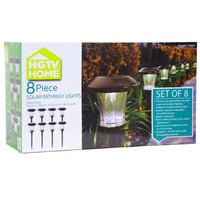 8 Piece Outdoor Pathway Solar Lights With Rechargeable Batteries