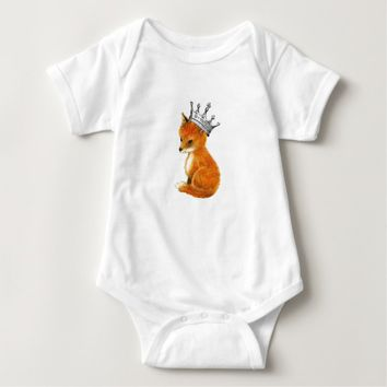 Baby Fox with Crown Baby Baby Bodysuit