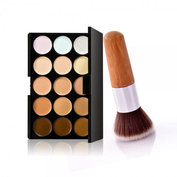 15-Color Concealer Palette & Bamboo Handle Powder Brush Kit Womens Gift + Freee Shipping