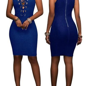 Dark Blue Plain Hollow-out Zipper Round Neck Sleeveless Bodycon Denim Mini Dress
