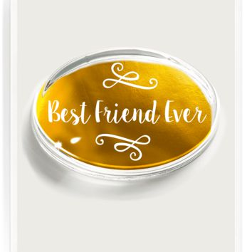 Best Friend Ever Gold Foil Crystal Oval Paperweight