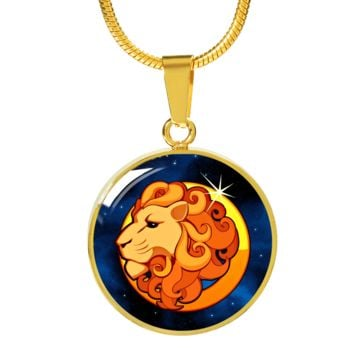 Zodiac Sign Leo - 18k Gold Finished Luxury Necklace