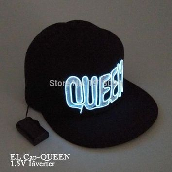 Cool KING QUEEN Glowing Cap New Style LED neon light Glow Party Supplies With 1.5V Steady on DriverAT_93_12
