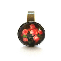 10% SALE - Ring Many Red Rose in Black Dark Background Copper Cute Circle Shape Good for gift