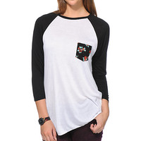 Empyre Indira Floral Pocket White Baseball T-Shirt