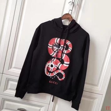 GUCCI Women Man Fashion Snake Print Long Sleeve Top Sweater Pullover Hoodie-1