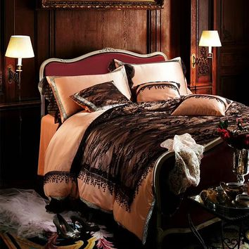 Cotton Imitate silk Luxury Brown Black Lace Romantic Bedding Sets Girls Queen King Soft Duvet Cover Bed Sheet set Pillowcase
