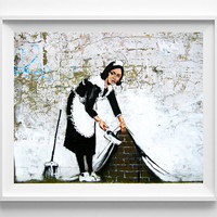 Banksy Print, Maid in London, Street Graffiti Art, Banksy Painting, Urban Artist, Stencil Art, Street Art, Fathers Day Gift