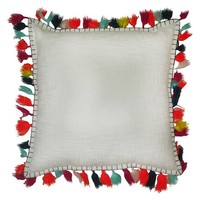 "Threshold™ Solid Pillow With Tassel 18""X18"" ( Acrylic Tassel )"