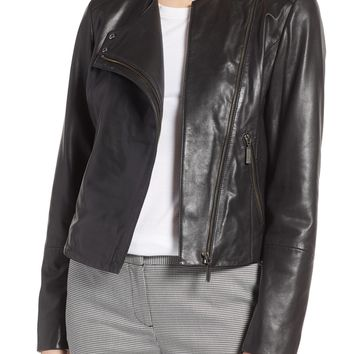Halogen® Collarless Leather Jacket (Regular & Petite) | Nordstrom