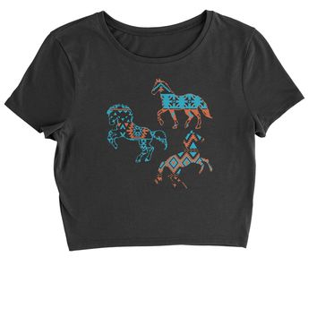 Native American Horses Southwest Cropped T-Shirt