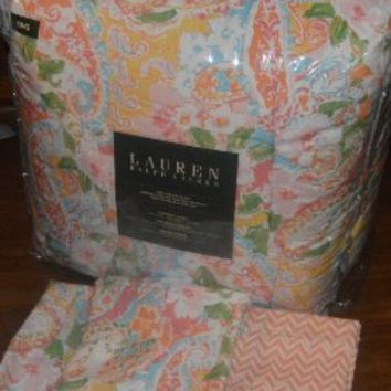 Ralph Lauren Queen Size Comforter Set 4pc Springdale Floral Paisley - Blue/Green/Yellow/Orange/Pink