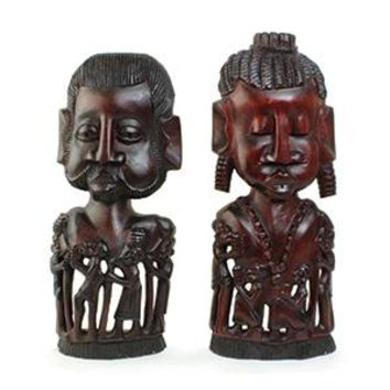 Set Of African Man & Woman Carvings