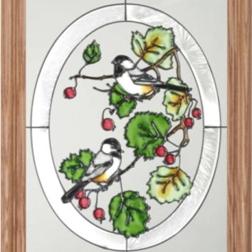Cheerful Chickadees Vertical Stained Art Glass Panel