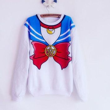 LMFUS4 Hoodies New 2016 Sailor Moon shirt Harajuku kawaii cute fake imitation top role-playing sailor costume sweatshirt