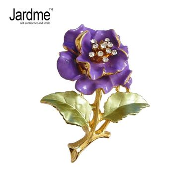Jardme Camellia Flower Brooch Enamel Hijab Pin 4 Colors Denim Jacket Rhinestone Brooches Apparel Accessories