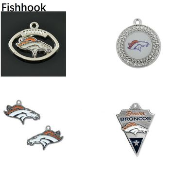 Fishhook 10 pcs Perfect Football Fan Gift Denver Broncos Charms and Pendants For Necklace Jewelry Fashion Gift for Women/Men