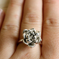 "succulent ring ""Always Summer"" in solid sterling silver"