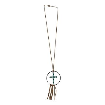 Leather Cross Tassel Necklace