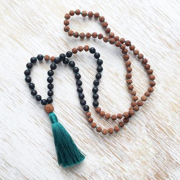 Knotted Necklace 108 Mala Beads Bodhi knotted necklace Lava Stone necklaces Prayer Beads Tassel necklaces Buddhist Jewelry