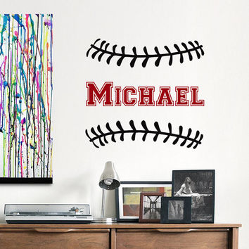 Baseball Name Wall Decal Boys Personalized Initial Decals Nursery Decor- Baseball Nursery Kids Boys Room Teens College Dorm Home Decor 0075