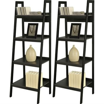 Set of 2 - Black 4-Shelf Modern Ladder Style Bookcases