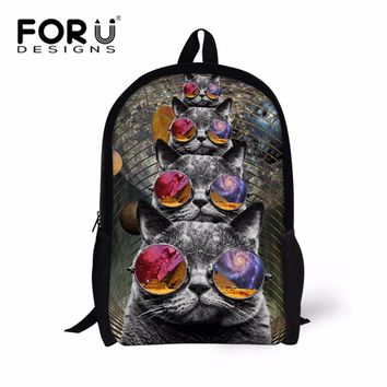 FORUDESIGNS Hipster Glasses Cat Backpack for Teenager Girls Adorable Animal Children Kids Bagpack Print Rucksack Unique Knapsack