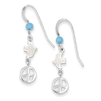 Sterling Silver Enameled Dove w/Peace symbol Earrings
