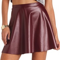 Solid PU Skater Skirt: Charlotte Russe