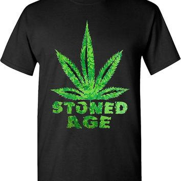 Stoned Age Marijuana Leaf 420 Solid Graphic T-Shirts