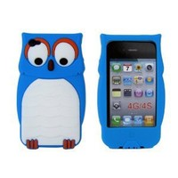Leegoal Blue Owl Designs Silicone Case for Apple iPhone 4 4S