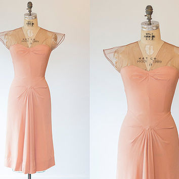 ELNA dress | 1930s rose pink dress with nude mesh shoulders | Vintage 30s wiggle dress