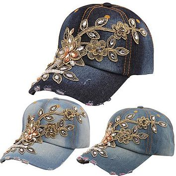 Women's Embossing Flower Denim Baseball Cap Summer Rhinestone Snapback Jeans Hat 09WG