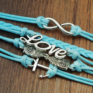 Sweet Solid Color Letter 8 Love Owl Anchor Bracelet For Women