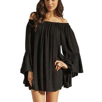 Black Off Shoulder Chiffon Dress