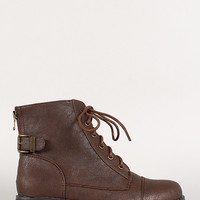 Bamboo Battle-23 Round Toe Lace Up Zip Bootie