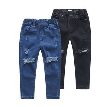Children Pants Boys Trousers Hole Jeans Fashion Design Girls Boys Long Pants Spring Autumn Straight Kids Pants