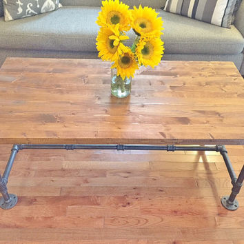 Large Coffee Table, Coffee Table, Handmade Table, Industrial Table, Wood Table, Living Room Table, Steel and Wood, Cocktail Table, TV Stand
