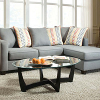 Soft Blue-Gray Couch with Chaise   Mode Gray 2 PC. Sectional Sofa   American Freight