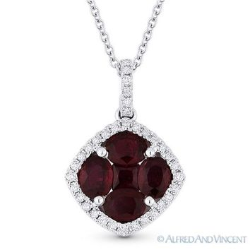 1.14 ct Natural Ruby & Diamond Pave 18k White Gold Pendant & 14k Chain Necklace
