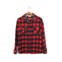 Buffalo Plaid Shirt 80s WOOL Flannel Red Black Lumberjack Jacket Button Up Long Sleeve 1980s Oversized Grunge Vintage Womens Small Medium