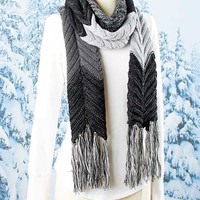 Black/Grey Chunky Knit Color Blocked Scarf-Available in Three Colors.