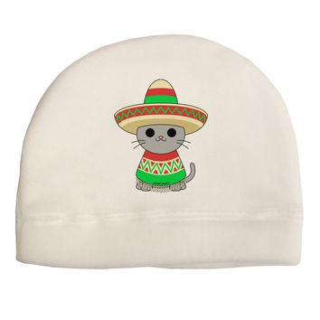 Cat with Sombrero and Poncho Adult Fleece Beanie Cap Hat by TooLoud